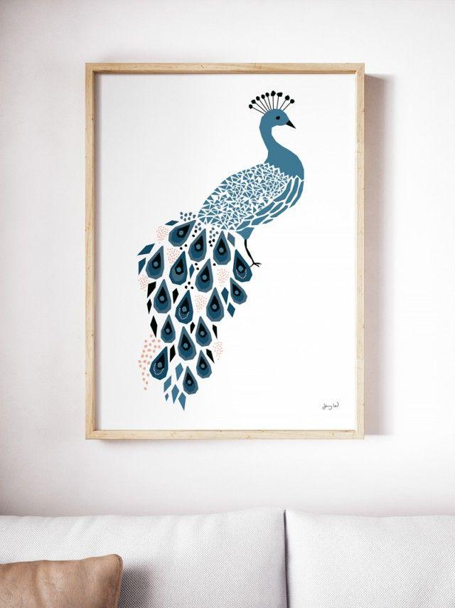 Blue Peacock - Svartvita posters