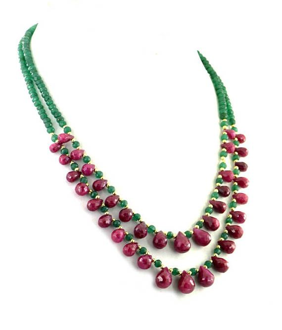 Two Row Emerald Necklace With Ruby Drops and #jewelry #necklace @EtsyMktgTool #beadswholesale #beadedjewelery #designernecklace