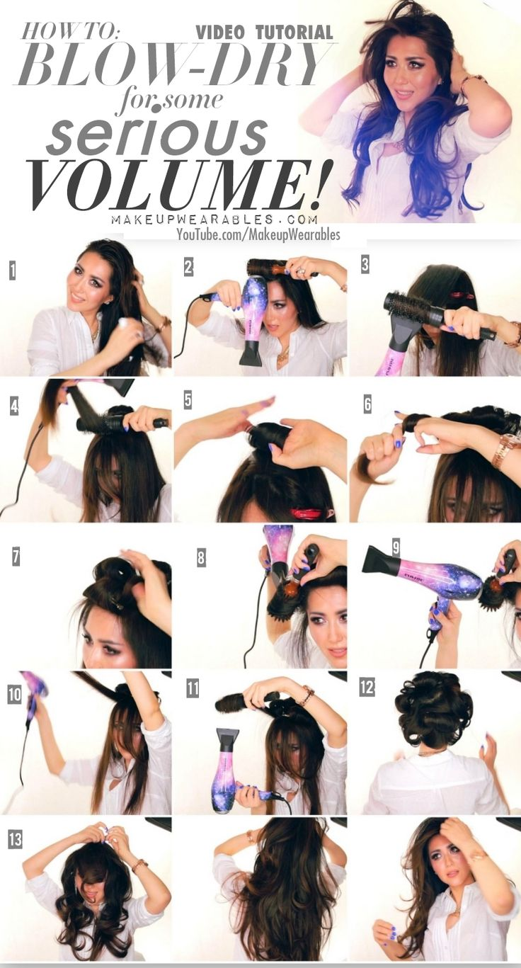 Step-by-step, hair tutorial video for beginners. Learn how to blow dry your hair for volume to get Kim Kardashian salon blow-out hairstyle.
