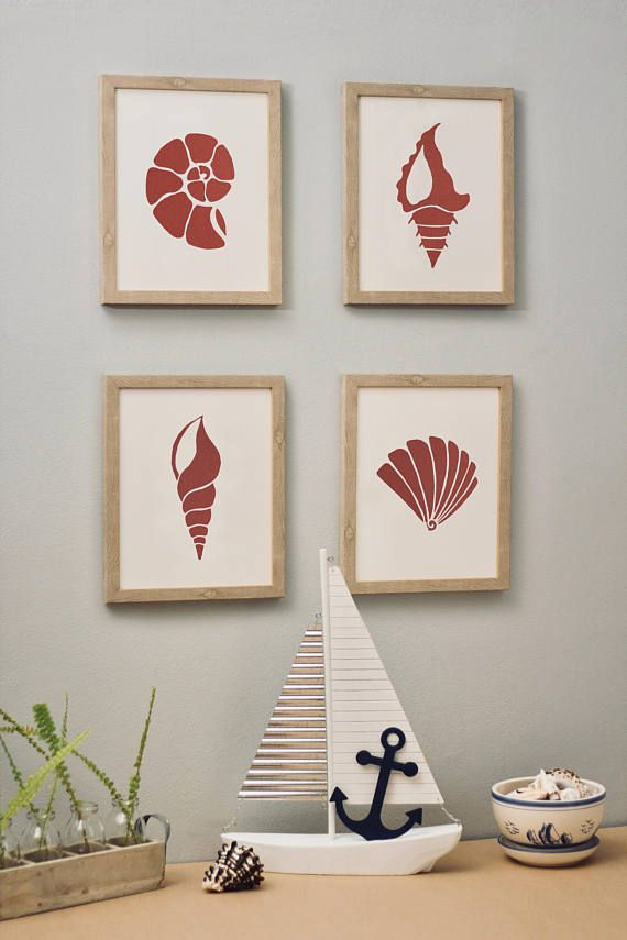 Sea life red 4 set. Set of 4 wall pictures Sea life made of special, thick, creative paper, with 3D effect (it's not printed). Wall paper art | Wall decor | Wall art | Wall print art | Paper home decor | paper cut | picture | minimalistic | shell | shells | nautical | sea life | home and living