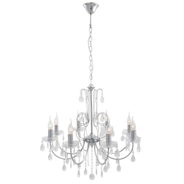 Eurolux CH226 - 8 Light Crystal Chandelier with Adjustable Chain Suspension