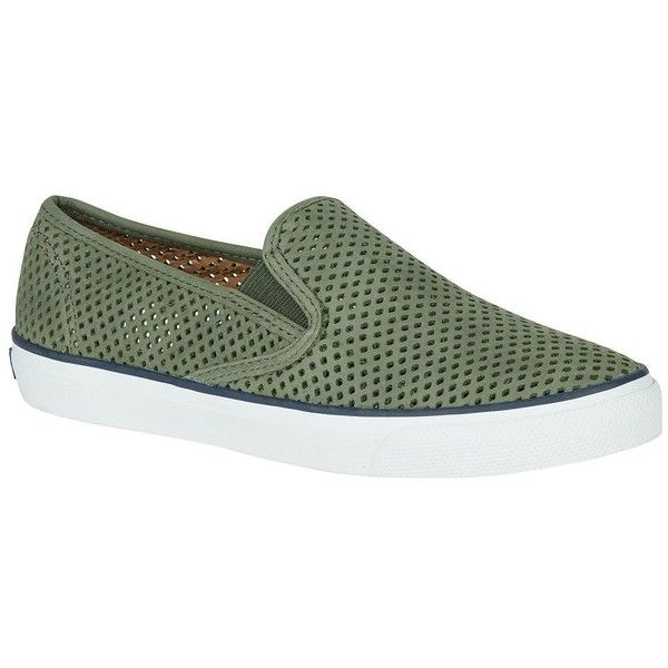 Sperry Women's Seaside Perforated Leather Sneakers ($75) ❤ liked on Polyvore featuring shoes, sneakers, olive, perforated leather shoes, slip on trainers, olive sneakers, leather slip on sneakers and leather upper shoes