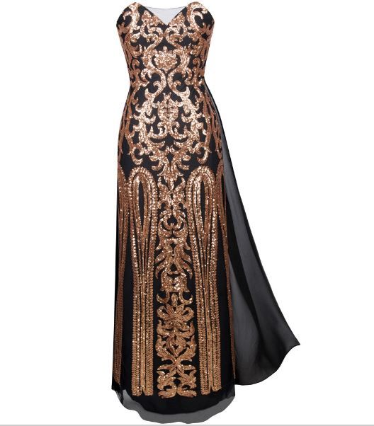 Gatsby Inspired Bronze and Black Embellished Gown. Perfect for Gatsby Party, Wedding, Jazz Party or any formal event