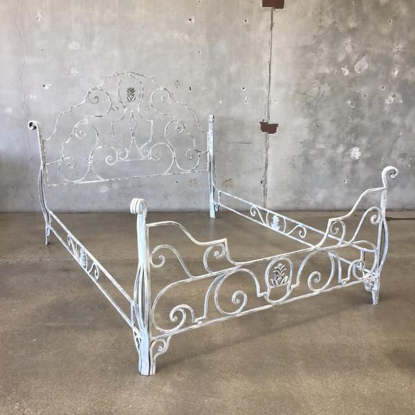 "Vintage Wrought Iron Queen Size Bed  57 1/2"" x 88"" x 68"""