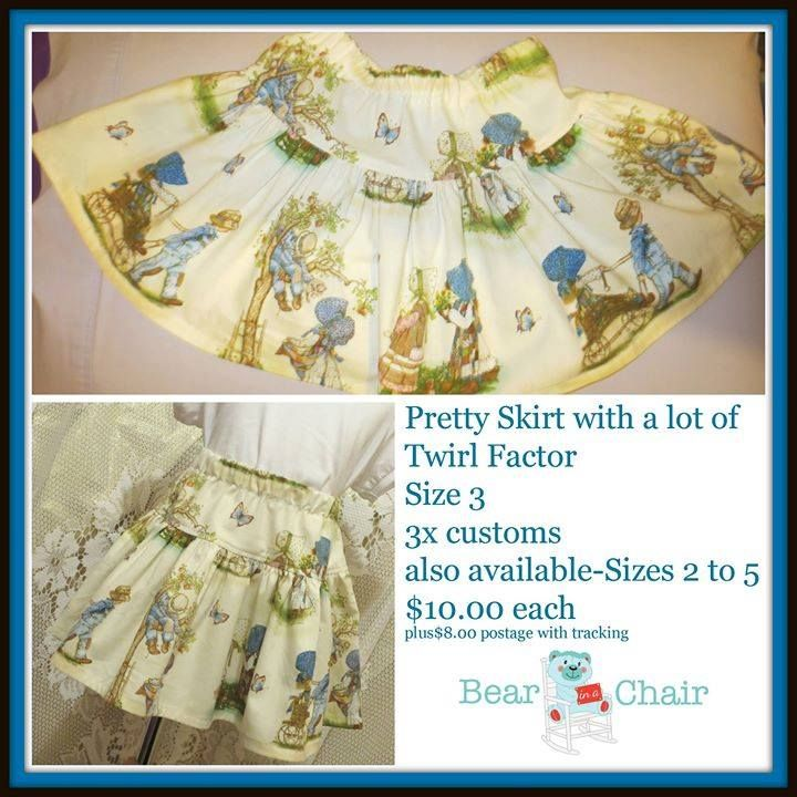Handmade By Bear In A Chair Pretty Skirt with a lot of Twirl Factor Size 3