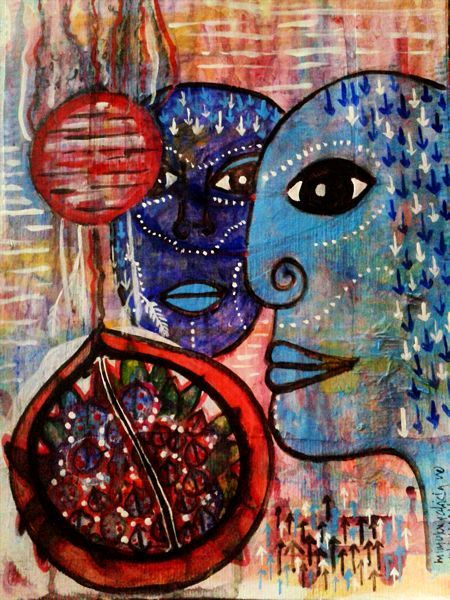 Guarding the Pomegranate -  the pomegranate symbolizing growth, abundance, fertility/creativity , life, wealth mixed media on heavy watercolor paper - original for sale contact me for info please