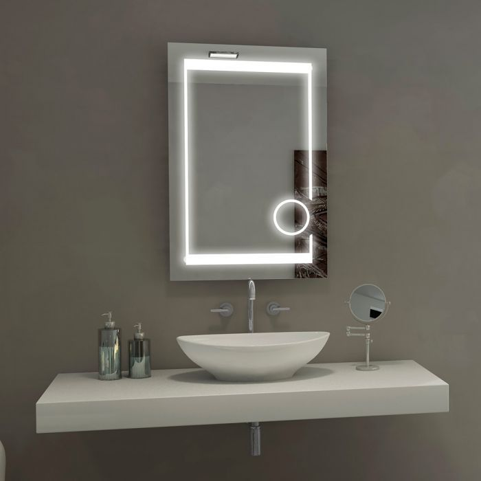 Aurora Illuminated Led Bathroom Mirror With 3x Magnifcation Circle From Paris Mirrors Dimmable With Warm 30 Led Mirror Bathroom Modern White Bathroom Mirror
