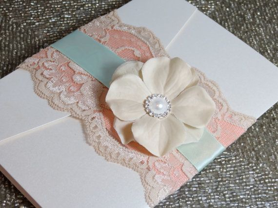 Shabby Chic Wedding Invtation - Customizable - Mint and Peach. $7.75, via Etsy. But with gray ribbon instead of mint