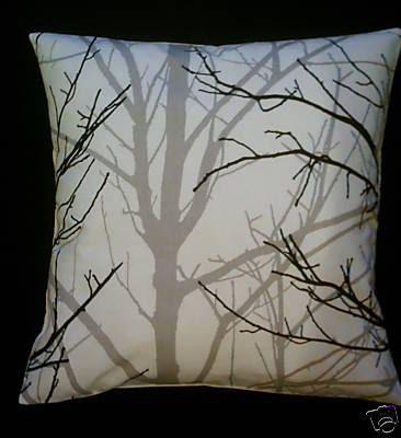 "Funky Retro Cushion Cover Gray/Grey Black White Tree Designer Cotton BIG 22""  Pillowcases Shams Slips. $19.50, via Etsy."