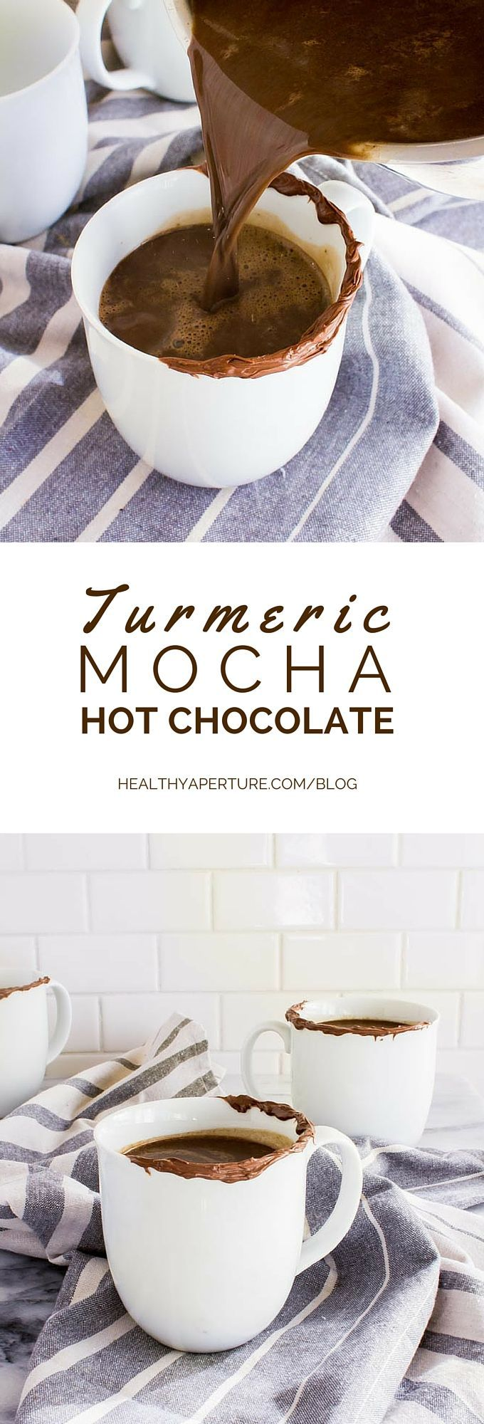 This turmeric spiced hot cocoa is a healthy coffee drink to warm you up this holiday season