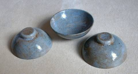 """These are made by the other tutorial, and painted with a """"faux-stone"""" paint. They look like real pottery."""