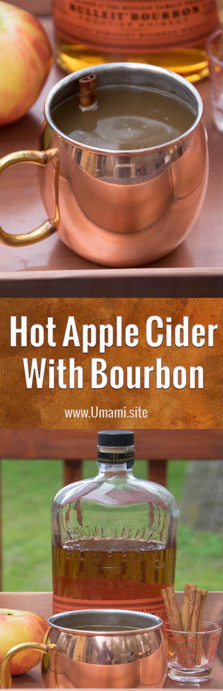 This Hot Apple Cider with Bourbon recipes is one of our favorite pick me ups for cool fall days.  All it takes to make this recipe is some fresh pressed apple cider, a touch of cinnamon, and a good shot of bourbon. #recipes #drinks #cocktails