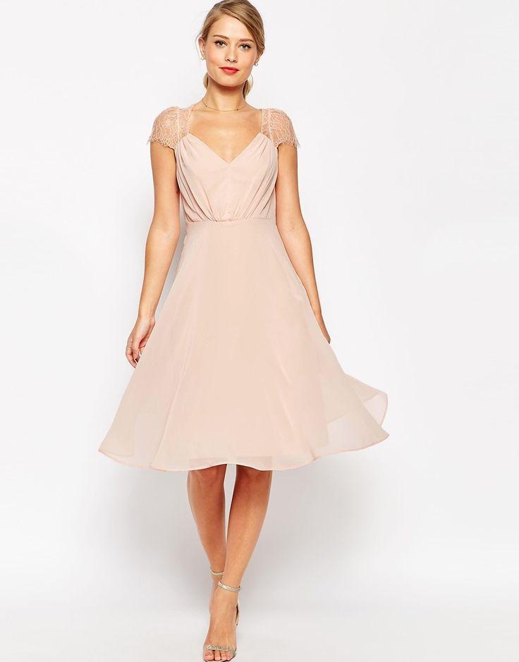 ASOS Kate Lace Midi Dress- pretty, delicate sleeve detailing