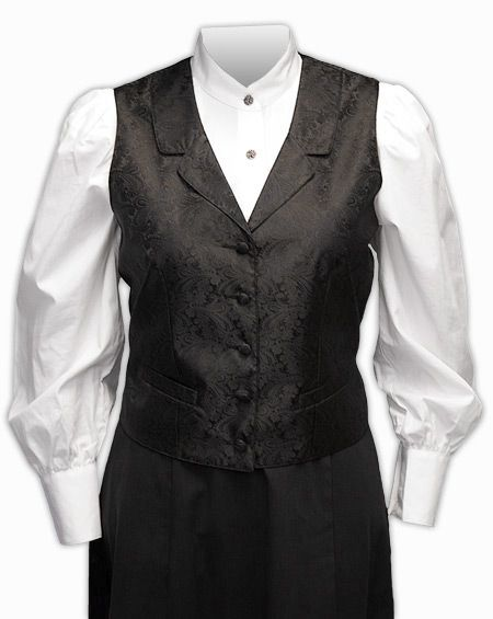Weathersby Ladies Vest. For the shape--I want batik bright or rich colors. Also like the white shirt!