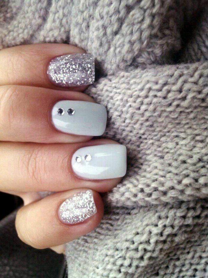 ongles décorés deco ongle gel de couleur gris