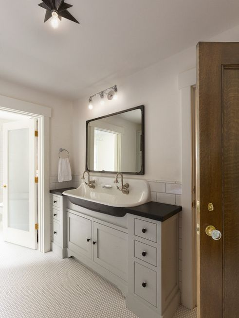 Floor to ceiling bathroom vanity gurus floor for Long bathroom vanity
