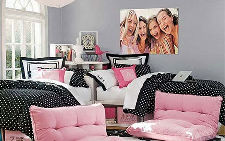 I like the wall color, you can keep her furniture pink, and ad light and hot pink throws.