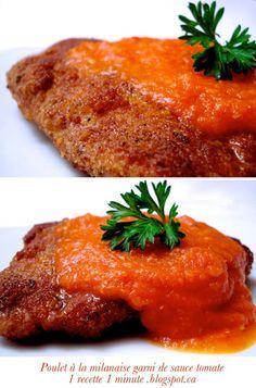 1 recette italienne: Escalope de Poulet à la Milanaise garnie de Sauce Tomate