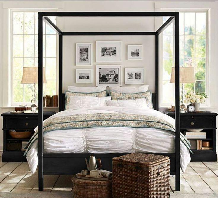 Comfy pottery barn bedroom canopy bed frame farmhouse