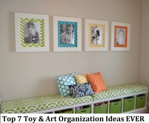 Playroom ideas- Toy and art organization and craft ideas  like the colorful mats.  Love the gray walls with colorful accents to the room.