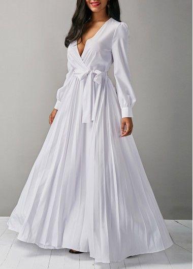 V Neck Long Sleeve White Belted Maxi Dress on sale only US$36.79 now, buy cheap V Neck Long Sleeve White Belted Maxi Dress at liligal.com   #liligal #dresses #womenswear #womensfashion