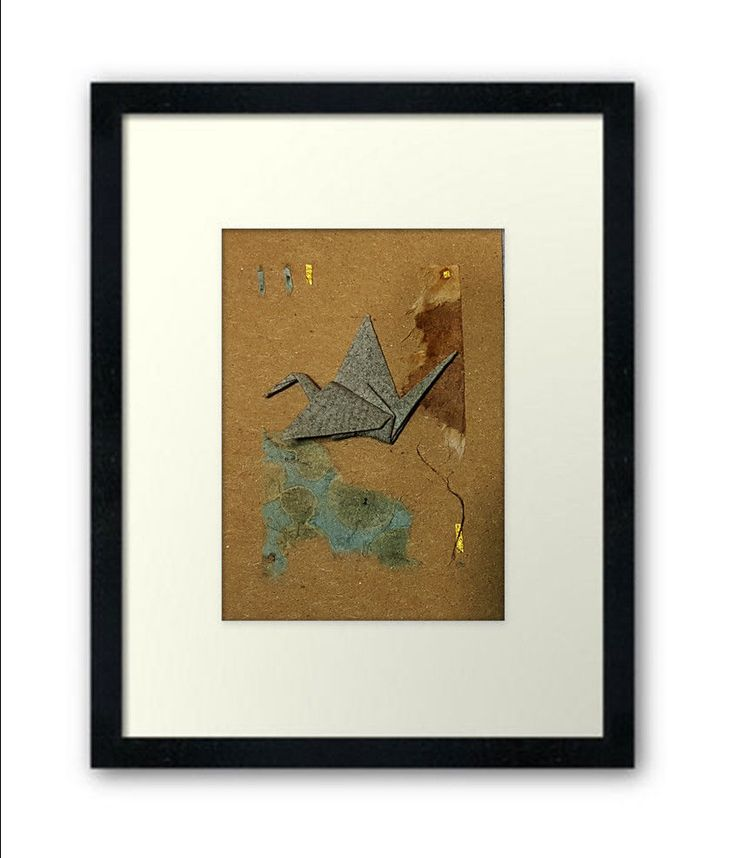 Original Artwork Aceo  Origami Paper Collage - Artist Trading Cards  Oritsuru 折り紙 #Miniature