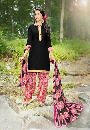 Black Cotton Printed Patiala Salwar Suit #punjabisalwarKameez #patialasuit #nikvik #sale # dress #designer #usa #australia #canada #suits