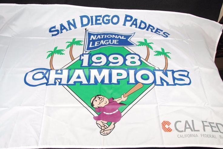 San Diego Padres 1998 National League Champions MLB Baseball White Flag #SanDiegoPadres