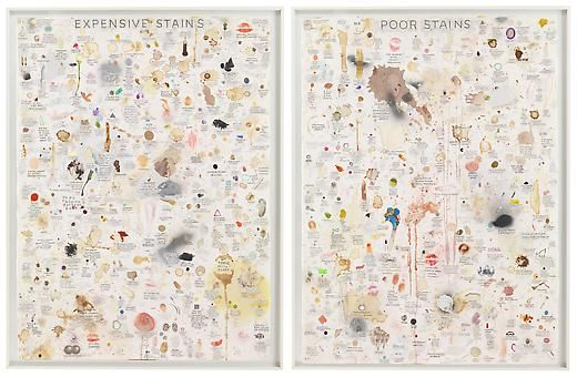 SIMON EVANS, Expensive Stains and Poor Stains, mixed media on paper, 2011