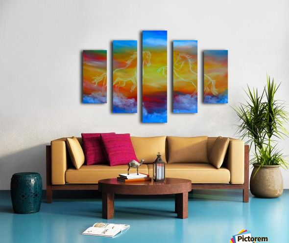 Interior Decor, Inspiration, ideas, items, for sale, colorful, blue, horses, sunset, sky, fantasy, contemporary, unique, impressive, cool, artistic, artwork, painting, Polyptych, 5 split,  stretched, canvas, multi panel, prints