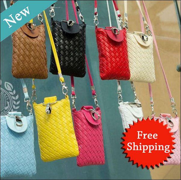 2pcs/lot delle donne moda borsa bella sacchetti di telefono per iphone 4 4s 4g 5 5s 5g per Samsung Galaxy S3 s4 s5 portafoglio