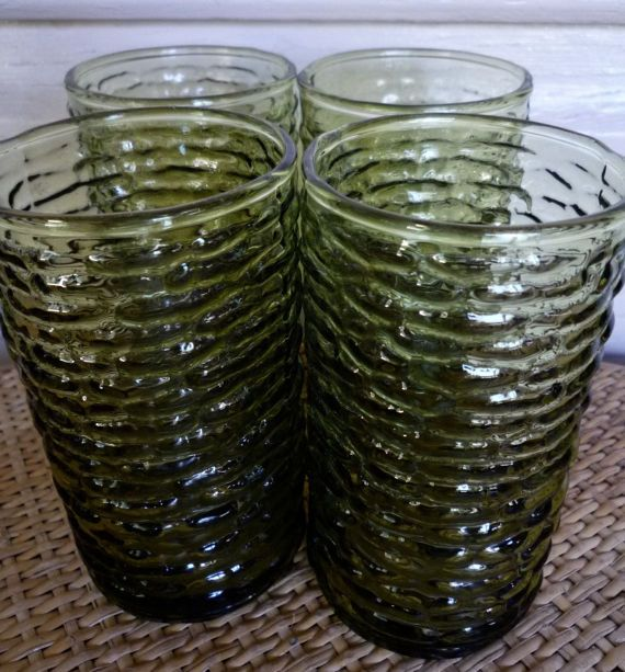 1970s retro barkglass tumblers x 4 by itsretrodarling on Etsy