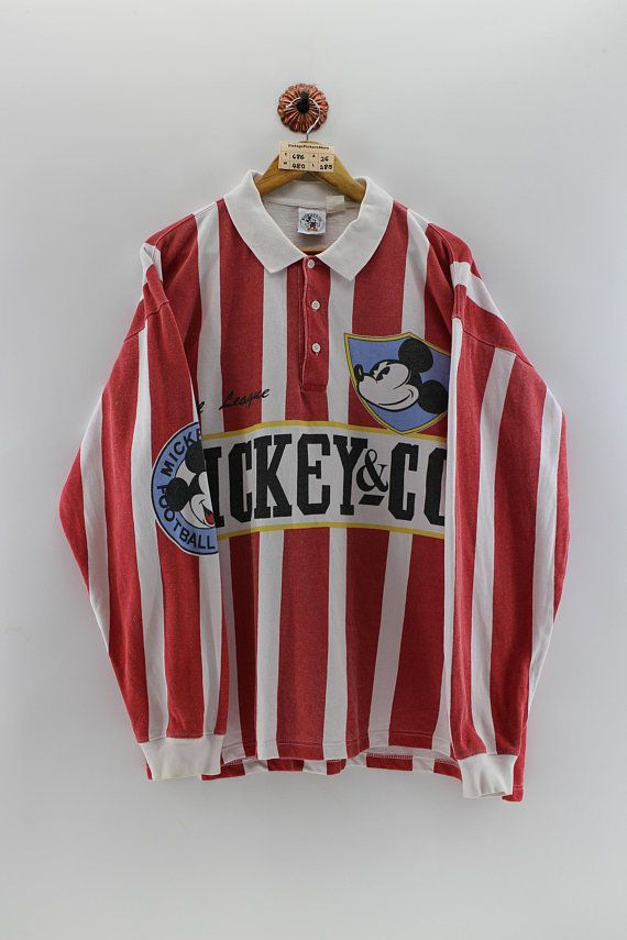 Vintage MICKEY MOUSE Polo Rugby Shirt Men Xlarge 90 s Walt  d63501768