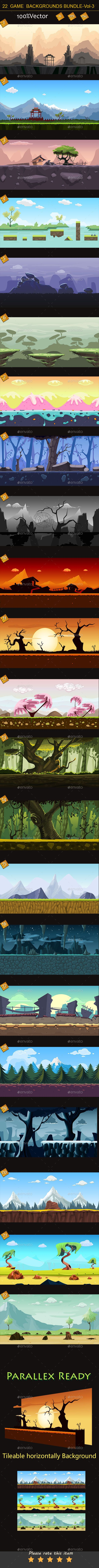 22 Game Backgrounds Bundle Volume 3 - Backgrounds Game Assets