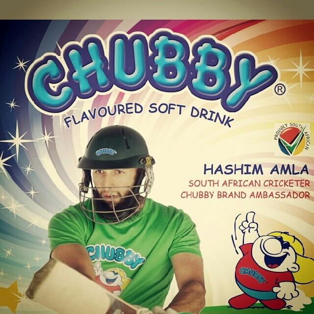 Hashim Amla- official brand ambassador of chubby soft drinks in SA