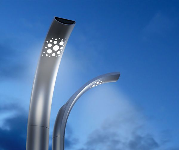Deco Street Lamp |  The steel and aluminum-cast lamp reaches upward with just a slight curve at the top; enough to cast a bright light to the sidewalk without overly-obstructing the view of the sky above. Designer: Igor Solovyov |