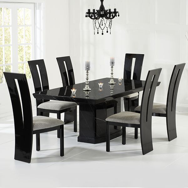 Dining Table With 6 Chairs Black Gloss Dining Table And 6 Chairs