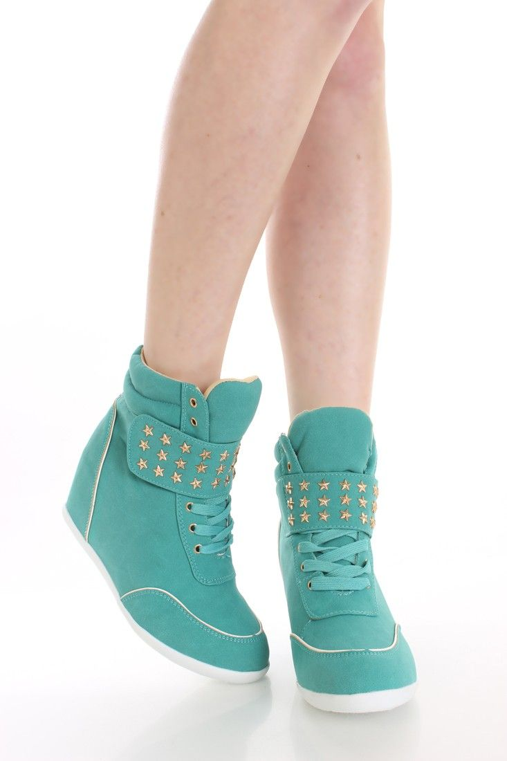 Teal Star Charm Sneaker Wedges