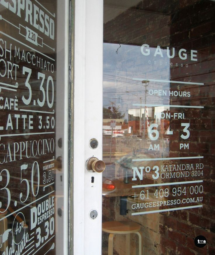 menu and trading hours, door decal, window decal, gauge espresso, cafe signage…