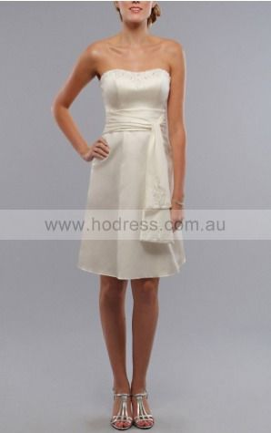 Zipper Knee-length A-line Natural Strapless Formal Dresses gt3916--Hodress