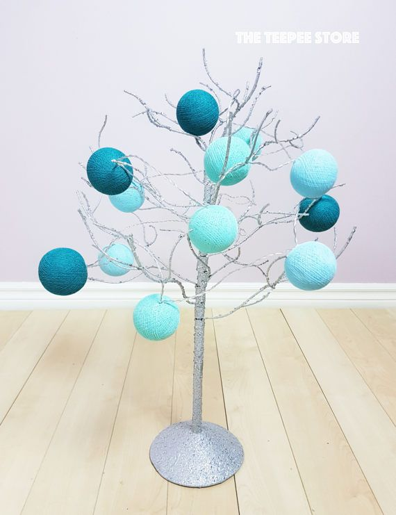 Turquoise and Teal 10 or 12 Cotton Balls String Light  String