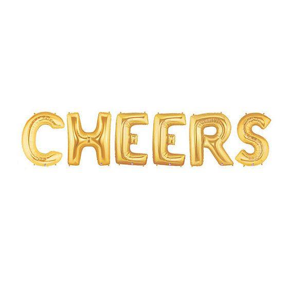 Cheers Balloon Kit  Gold  Foil Balloon  Party Decor by pingosdoceu