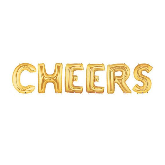 Cheers Balloon Kit  Gold  Foil Balloon  Party Decor by pingosdoceu