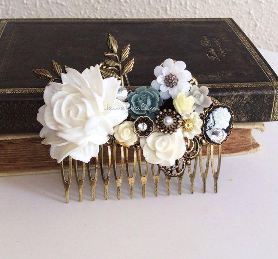 Great Gatsby Head Piece Headband Wedding Bridal Hair Accessories Black White Roaring 20s Flapper Film Noir 1920s Vintage Inspired