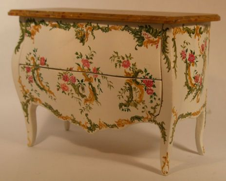 Hand Painted Floral Commode by Herbillion