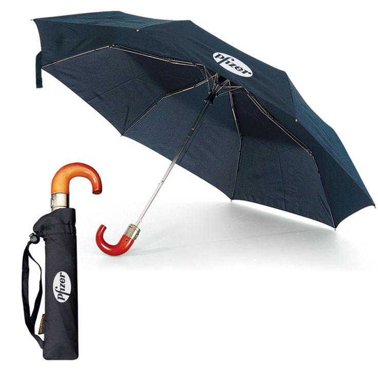 """The Posh (63424) - Auto open -stylish genuine wood crook handle for easy comfort -pongee material -windproof design -43"""" arc -folded length is 11"""" -8 panels comes in black with matching sleeve"""