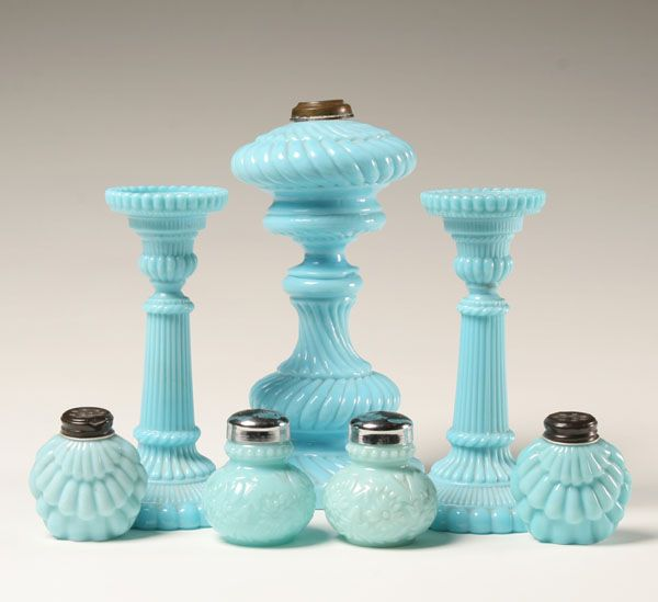 Blue Milk Glass Candle Holders Oil Lamp Base Salt And