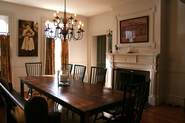 Dining Room with barn wood table Our 1830s Greek  : 808ef9699e8166ca217848d9327bc871 from pinterest.com size 736 x 490 jpeg 127kB