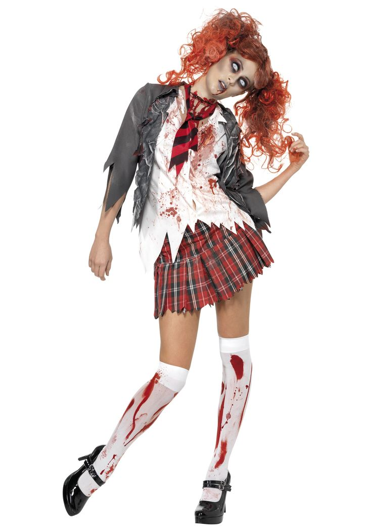 School Girl Zombie Costume. Could maybe do this with my corset and plaid skater skirt.