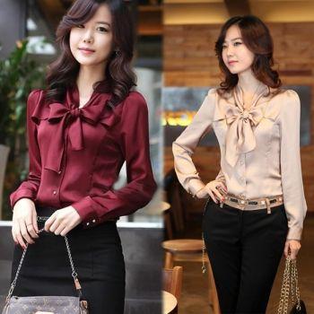 Korea Women Long Sleeve Bowknot Vintage Shirts Bowtie OL Tops Blouse